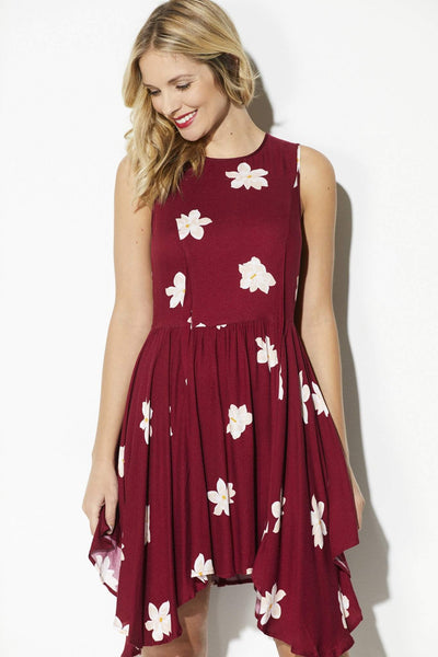 Olive + Oak - Deep Wine Floral Asymmetrical Dress