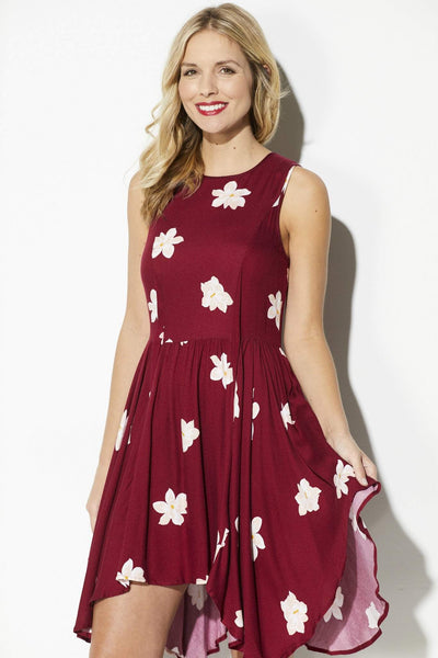 Deep Wine Floral Asymmetrical Dress