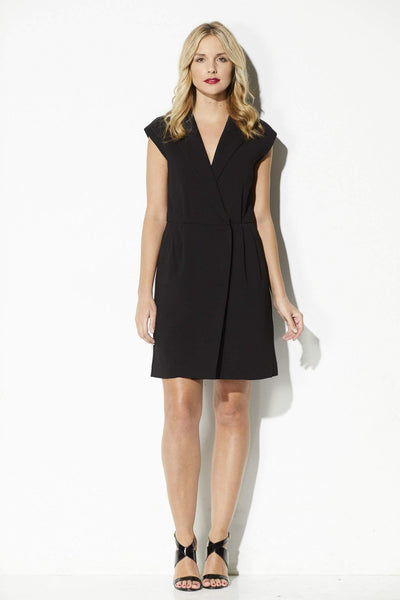 FRNCH - Black Notch Collar Wrap Dress - front