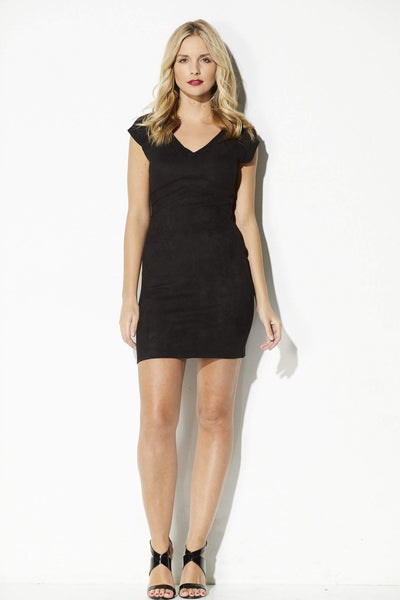 Black Swan - BLACK SUEDE BODYCON DRESS - front