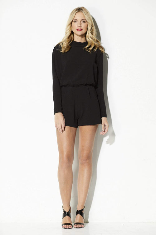 Bishop + Young - Black Long Sleeve Romper - front