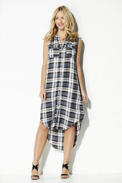 Cupcakes & Cashmere - Sleeveless Plaid Midi Dress - front