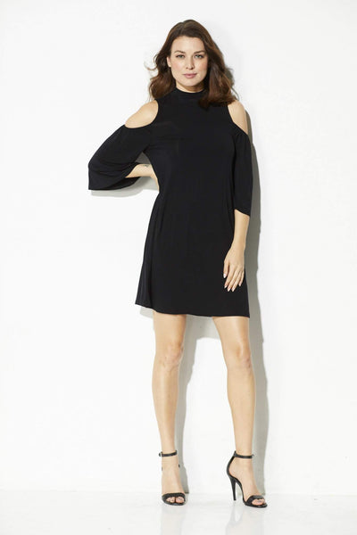 Everly - Mock Neck Cold Shoulder Dress - front