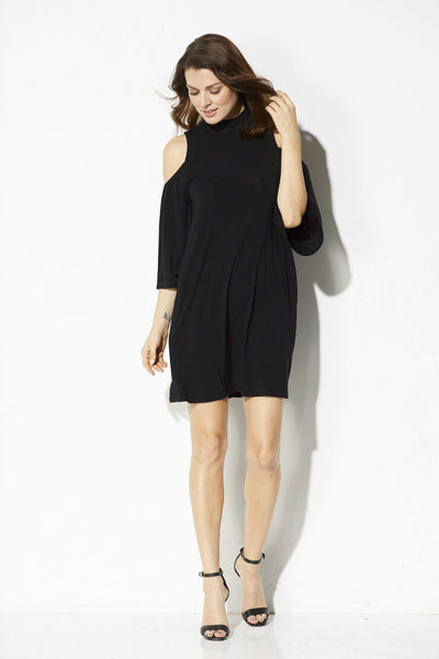 Everly - Mock Neck Cold Shoulder Dress