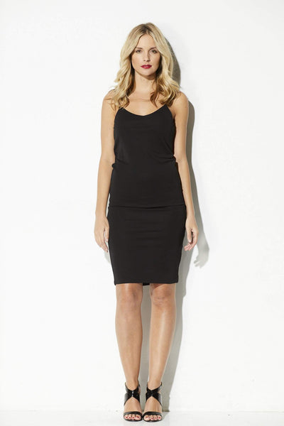 Bishop + Young - Black Midi Tank Dress - front