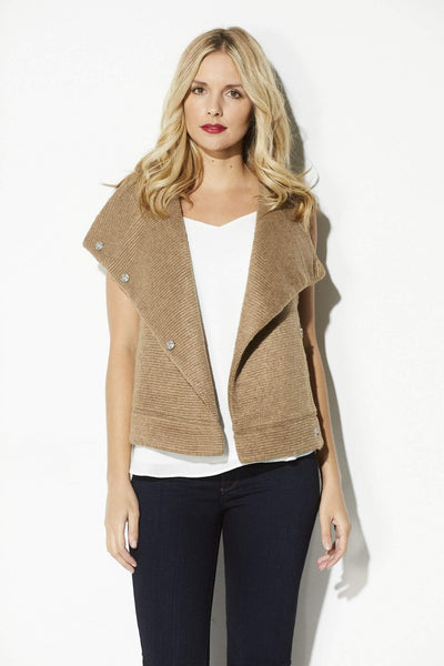 BB Dakota - Camel Ribbed Sweater Vest - front