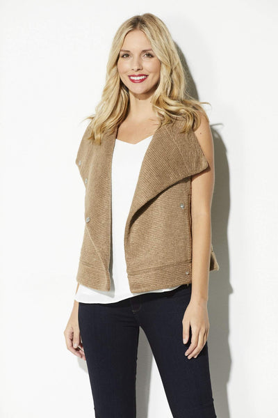 Camel Ribbed Sweater Vest