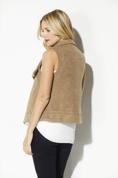 BB Dakota - Camel Ribbed Sweater Vest - rear