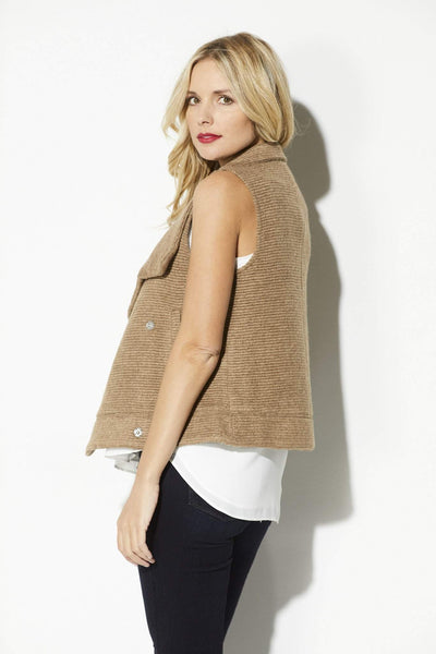 BB Dakota - Camel Ribbed Sweater Vest - side