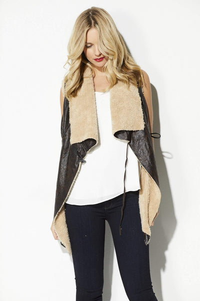 Brown Faux Leather &  Faux Fur Vest