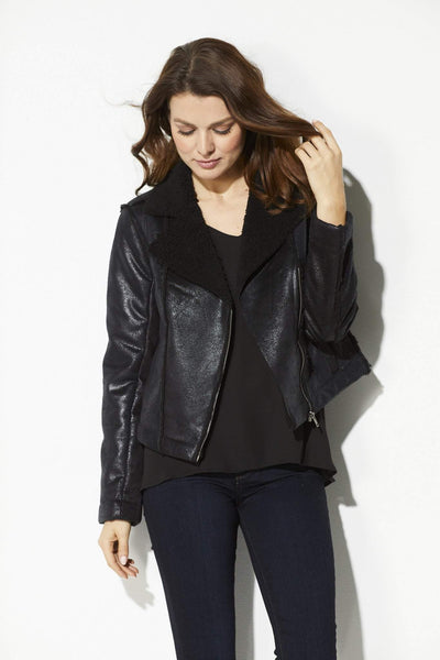 Black Metallic Bomber Jacket