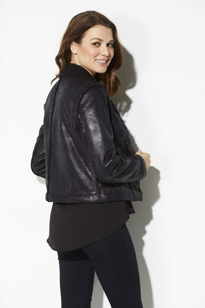 Jack - Black Metallic Bomber Jacket - rear