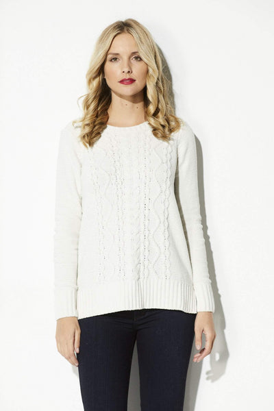 BB Dakota - Ivory Cable Knit Sweater - front