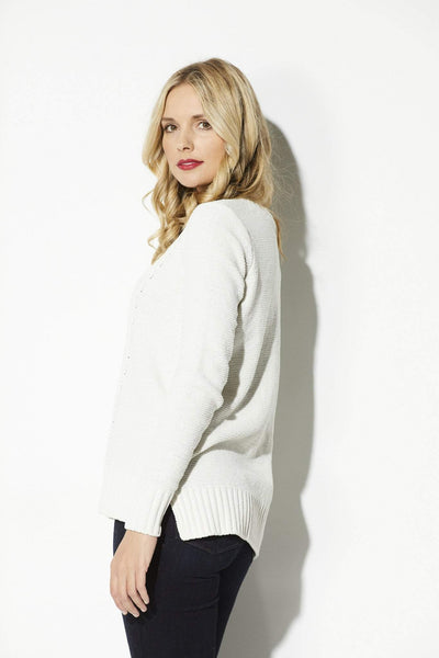 BB Dakota - Ivory Cable Knit Sweater - side