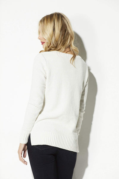 BB Dakota - Ivory Cable Knit Sweater - rear