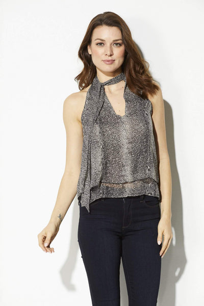 Bishop + Young - Snake Skin Tie Neck Tank - front