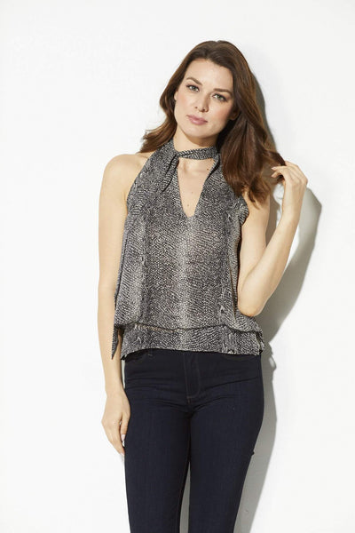Bishop + Young - Snake Skin Tie Neck Tank
