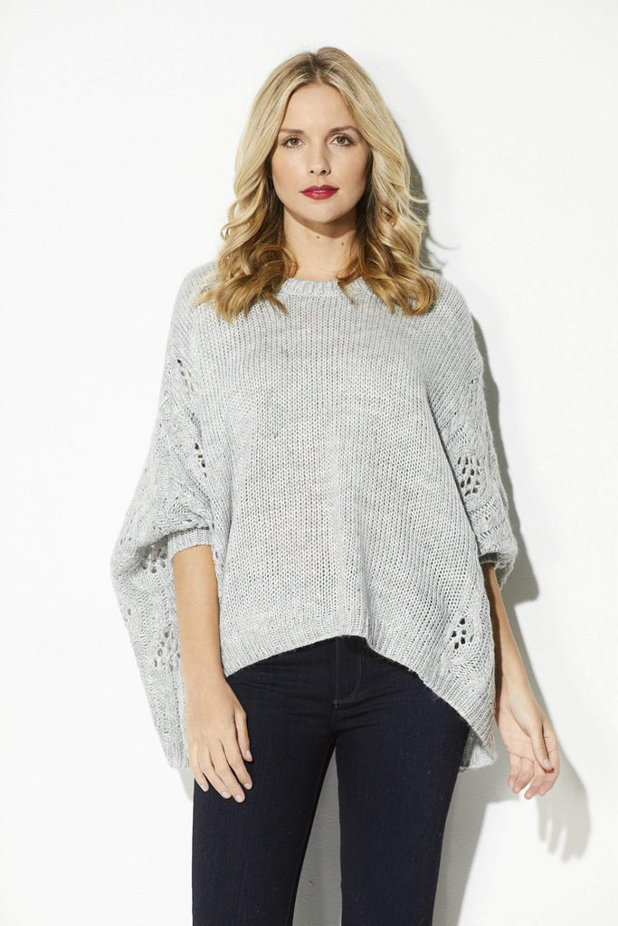 BB Dakota - Heather Gray Poncho Sweater - front