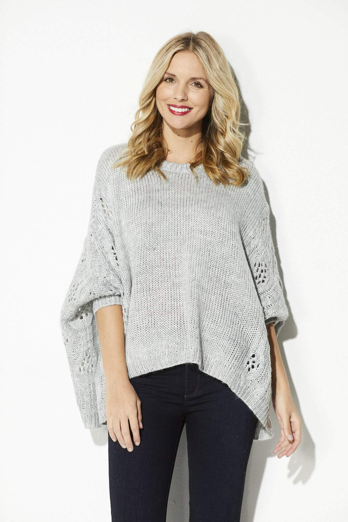 Heather Gray Poncho Sweater