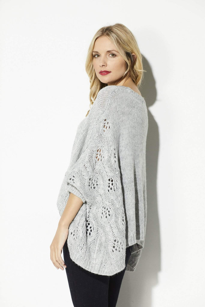 BB Dakota - Heather Gray Poncho Sweater - side