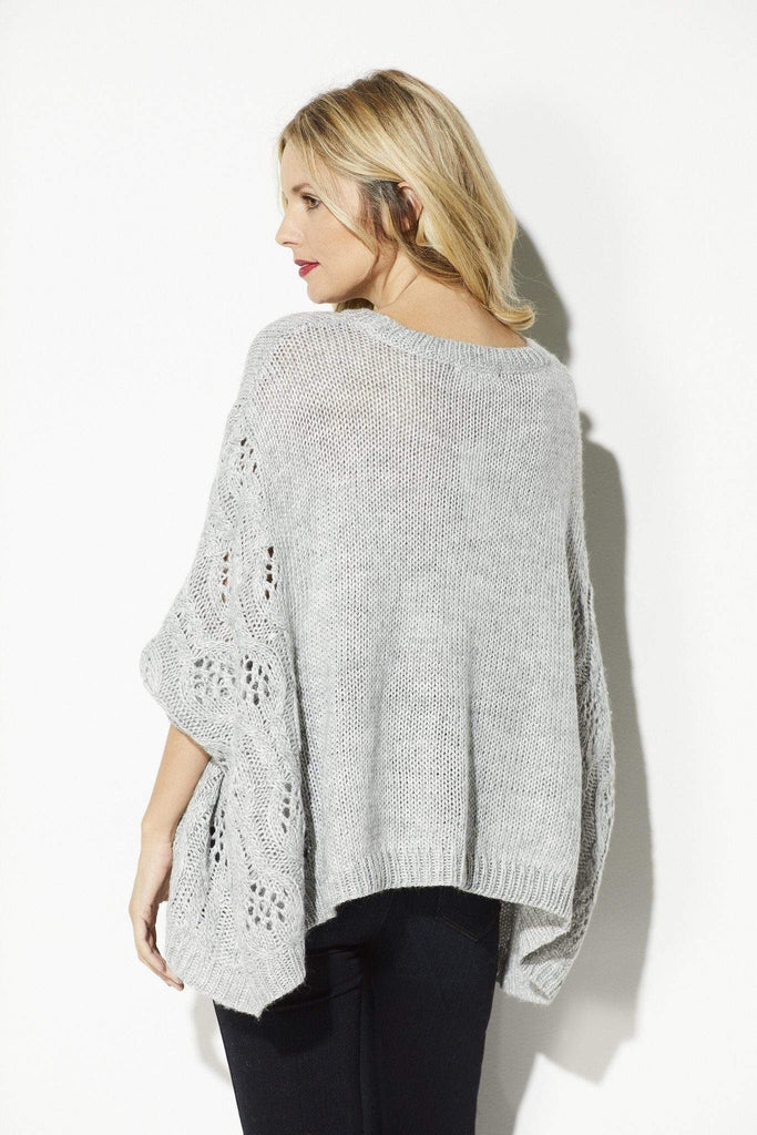 BB Dakota - Heather Gray Poncho Sweater - rear