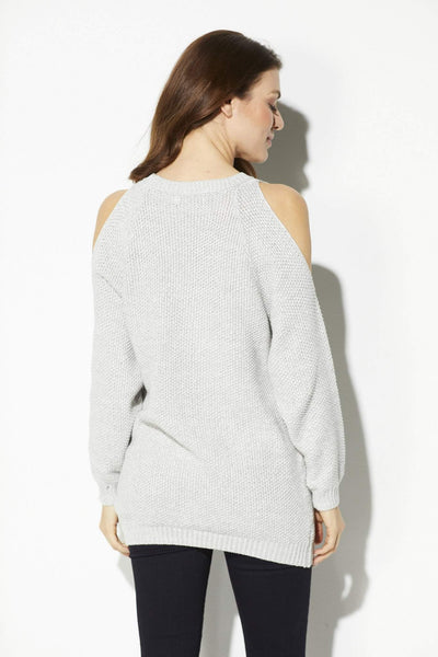 Heather Gray Cold Shoulder Sweater