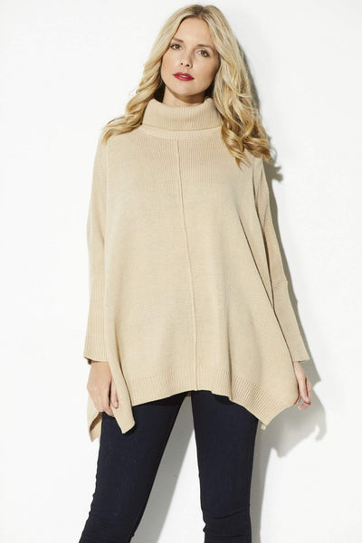 Lumiere - Camel Turtle Neck Pullover - front