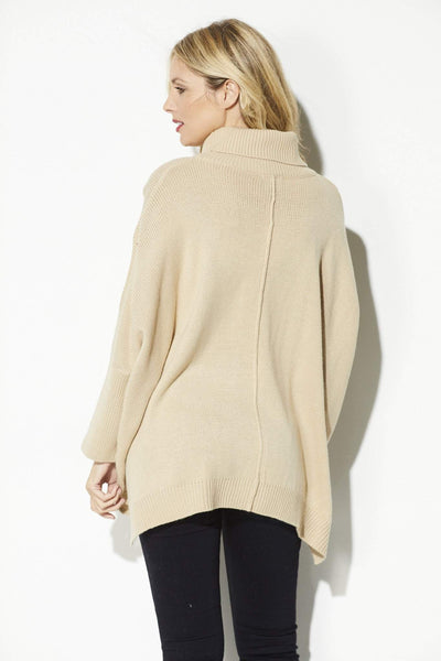 Lumiere - Camel Turtle Neck Pullover - rear