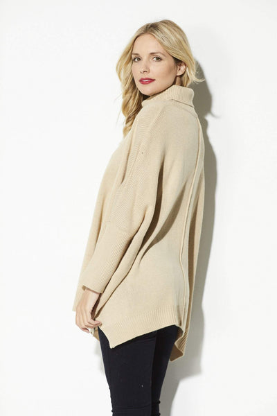 Lumiere - Camel Turtle Neck Pullover - side