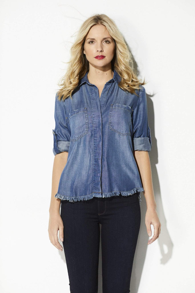 Bella Dahl - Fray Hem Button Down - front