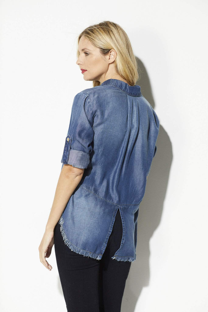 Bella Dahl - Fray Hem Button Down - rear