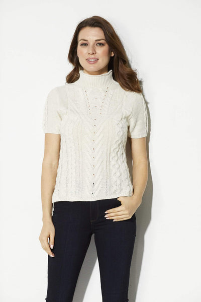 Bishop + Young - Ivory Cable Knit Short Sleeve Sweater - front