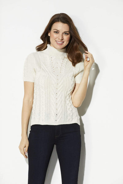 Bishop + Young - Ivory Cable Knit Short Sleeve Sweater