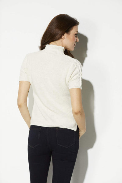 Bishop + Young - Ivory Cable Knit Short Sleeve Sweater - rear