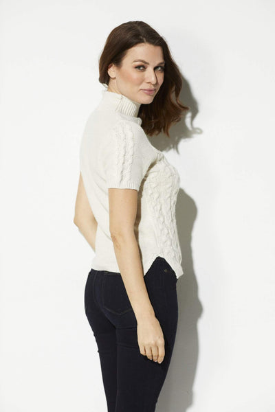 Bishop + Young - Ivory Cable Knit Short Sleeve Sweater - side