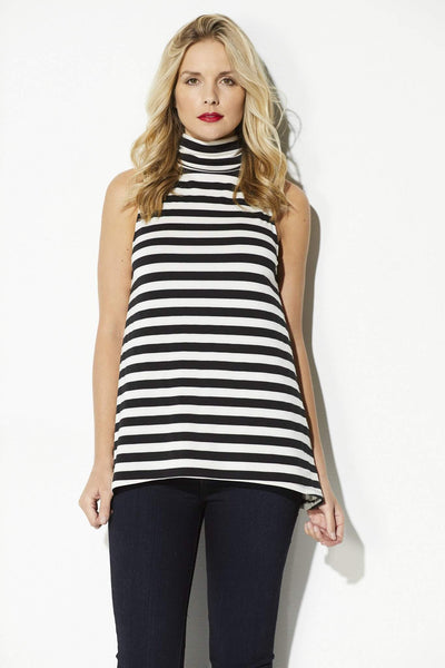 Cupcakes & Cashmere - Black & White Stripe Slouchy Neck Top - front