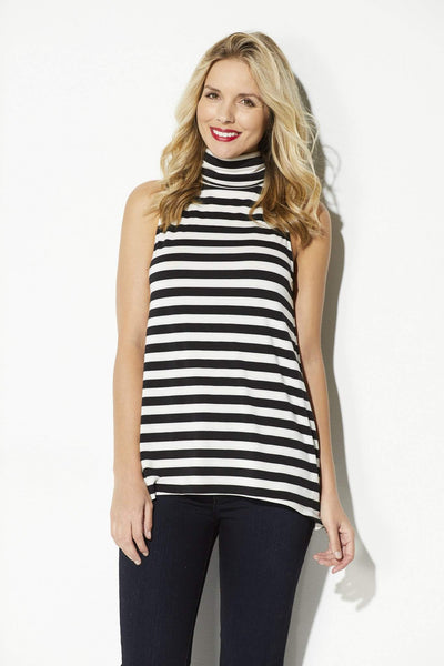 Black & White Stripe Slouchy Neck Top