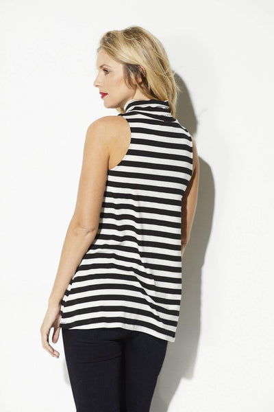 Cupcakes & Cashmere - Black & White Stripe Slouchy Neck Top - rear