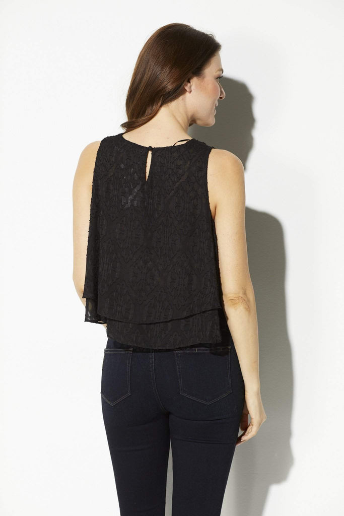 Bishop + Young - Black Printed Double Layer Tank - rear