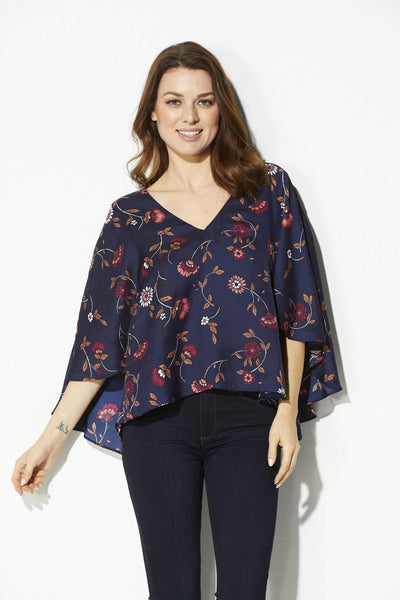 Cupcakes & Cashmere - Navy Floral Cape Top - front