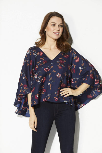 Navy Floral Cape Top