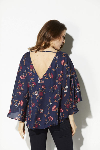 Cupcakes & Cashmere - Navy Floral Cape Top - rear