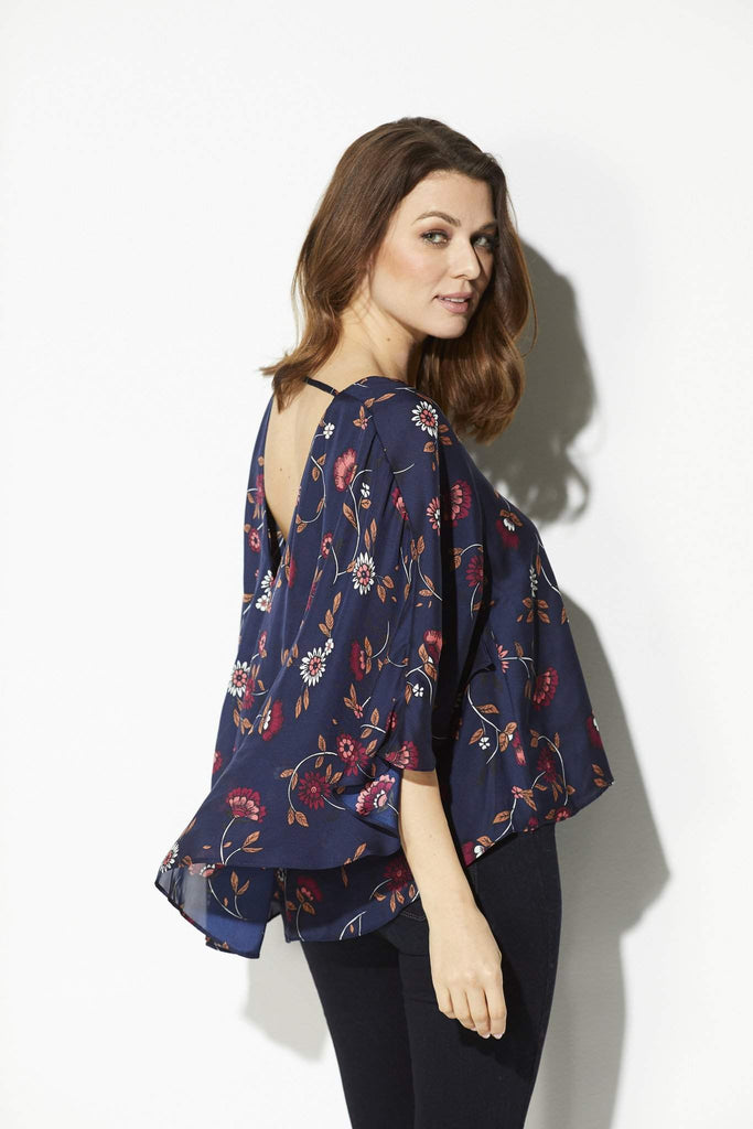 Cupcakes & Cashmere - Navy Floral Cape Top - side