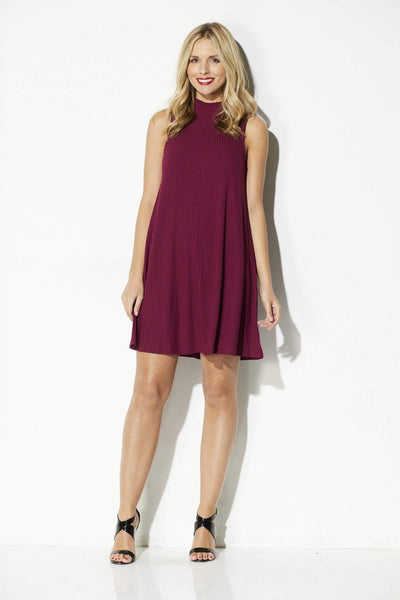 Olive + Oak - Dried Rose High Neck Swing Dress - front