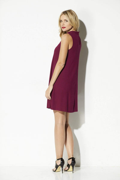 Olive + Oak - Dried Rose High Neck Swing Dress - rear