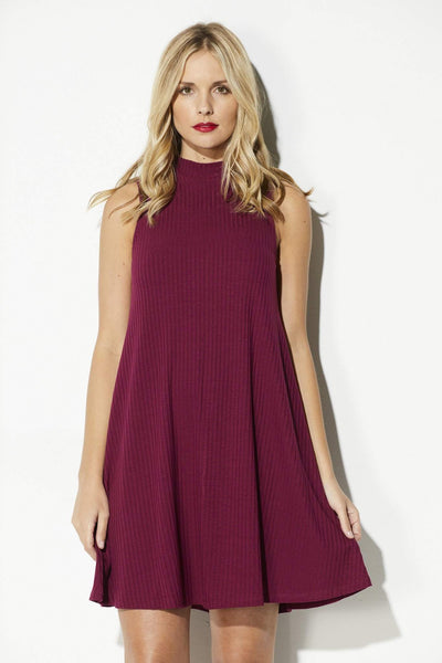 Dried Rose High Neck Swing Dress
