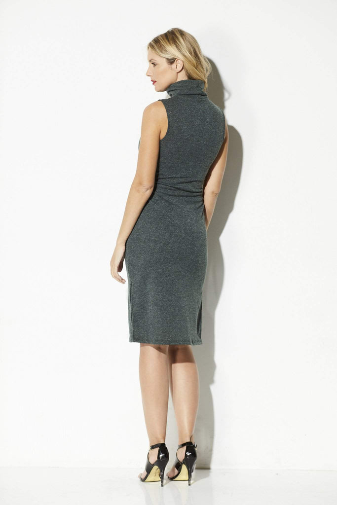 Everly - Olive Green Midi Sweater Dress - rear