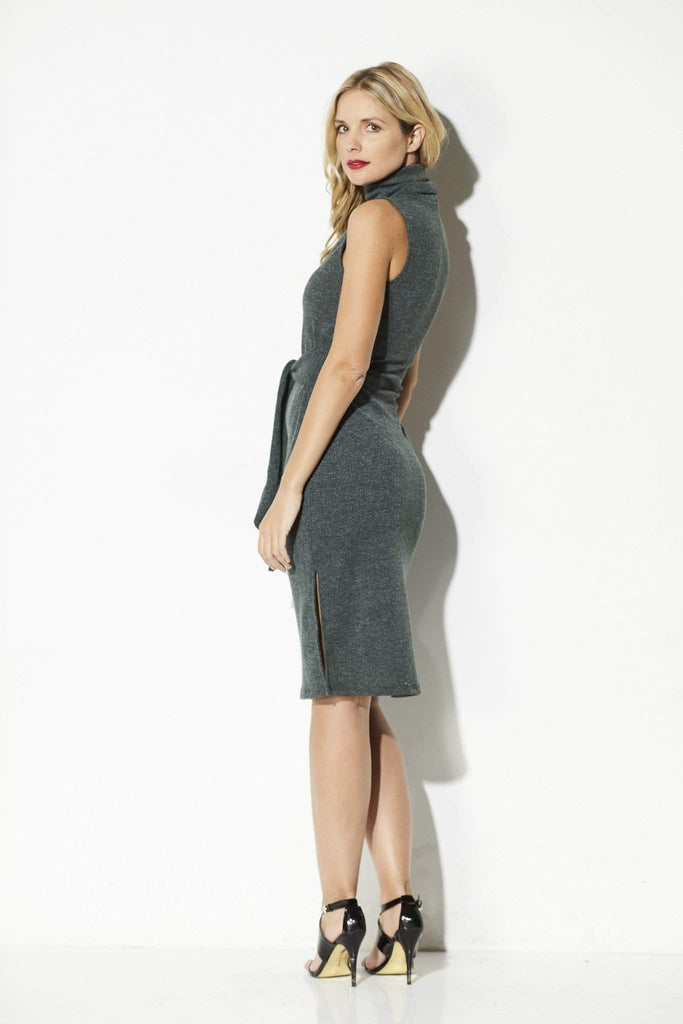 Everly - Olive Green Midi Sweater Dress - side