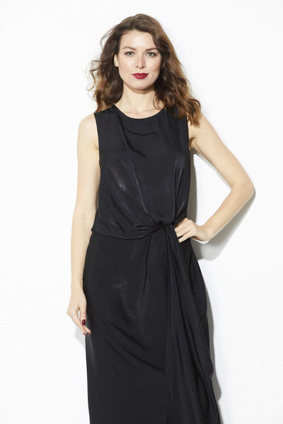 Everly - Black Midi Dress with Front Twist Detail - Front