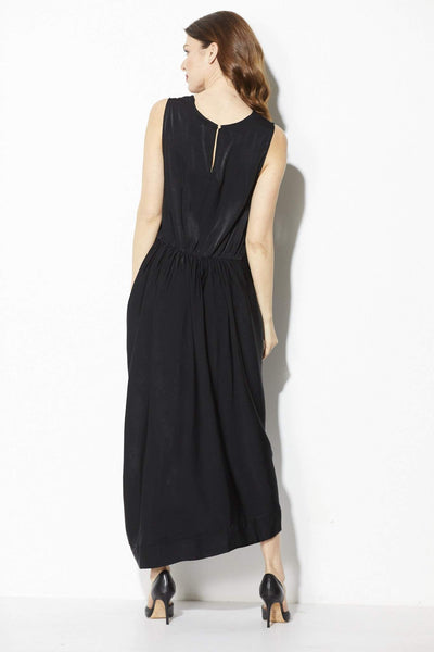 Everly - Black Midi Dress with Front Twist Detail - Back
